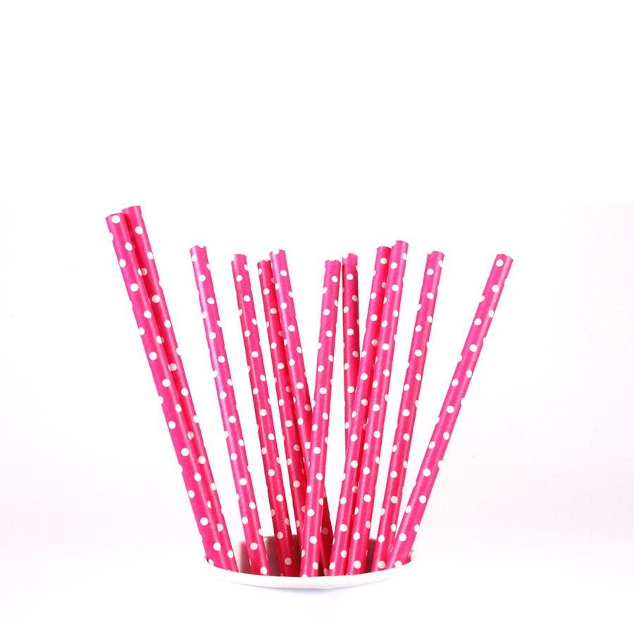 Canudo De Papel Vintage Pink Com Bolinhas Brancas 12Un
