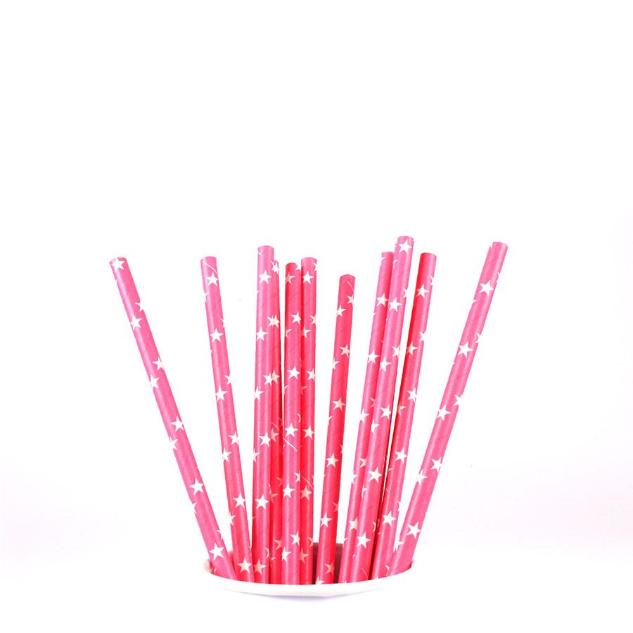 Canudo De Papel Vintage Pink Com Estrelas Brancas 12Un