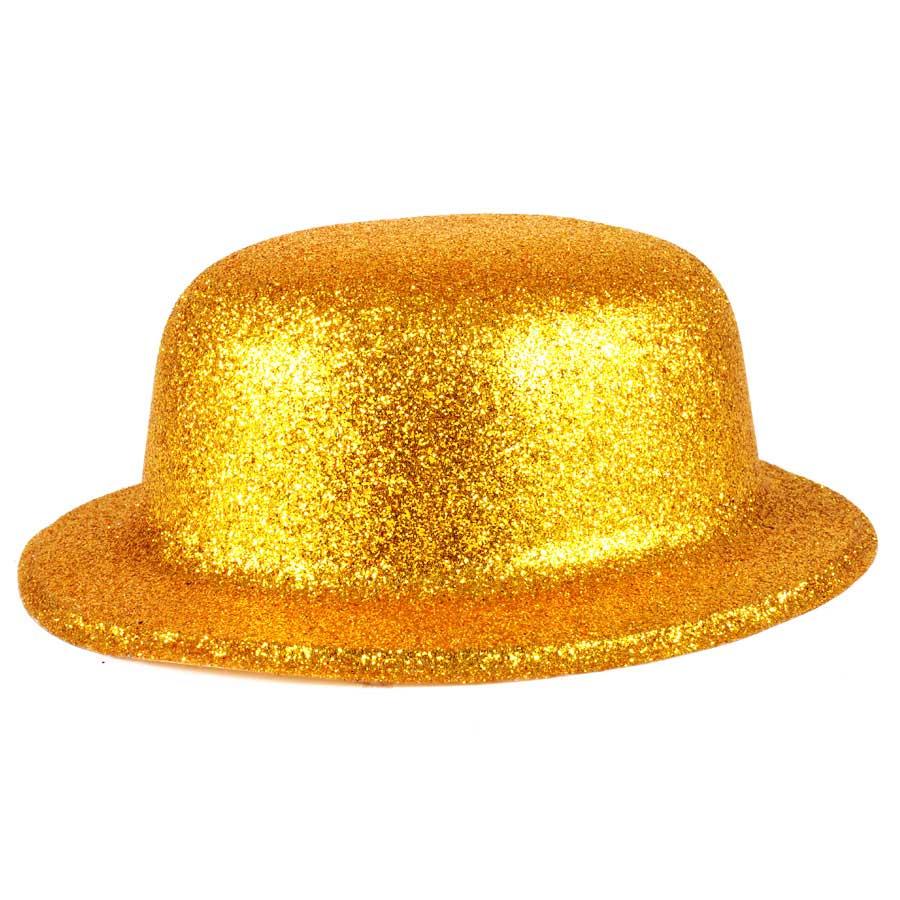 Cartola Plástica Com Glitter Dourado