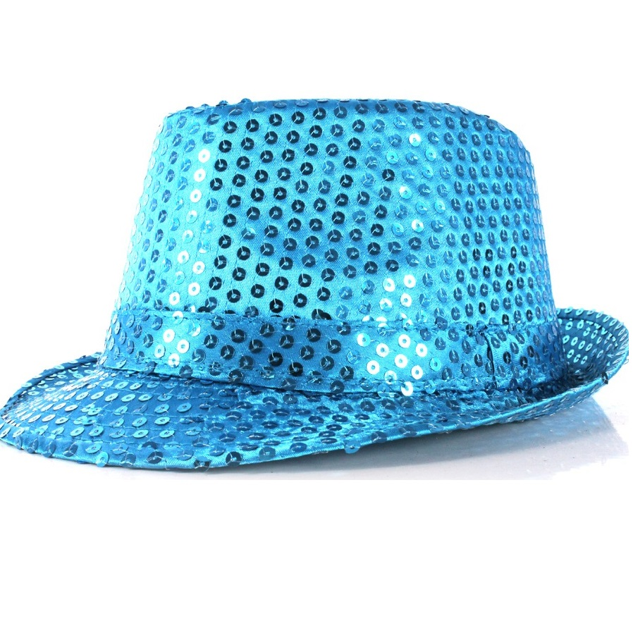 Chapéu Malandro Paetê Azul Claro