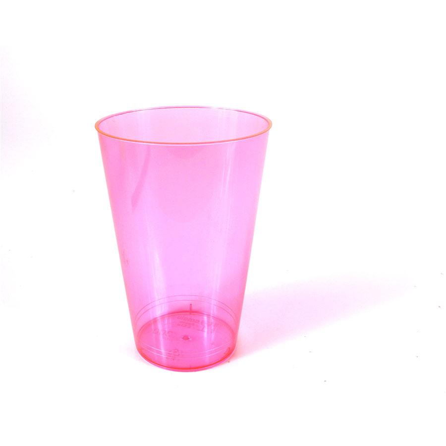 Copo Acrílico 300Ml Rosa Neon Com 10 Unid