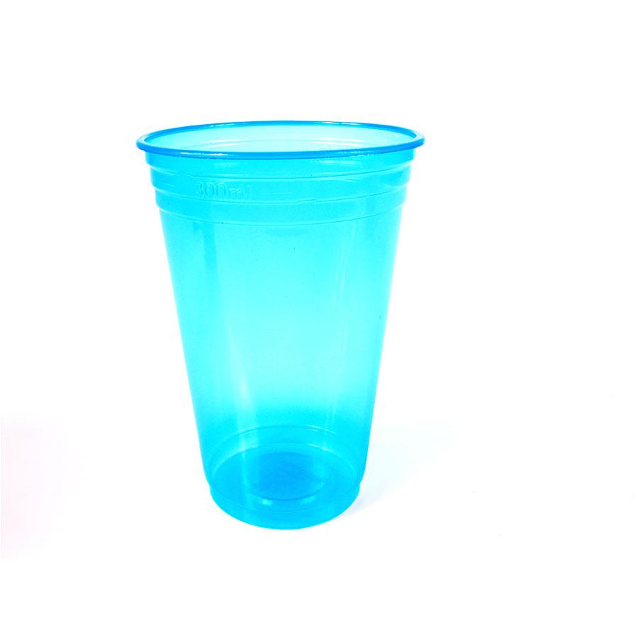 Copo Plástico Neon 300Ml C/25Un Azul