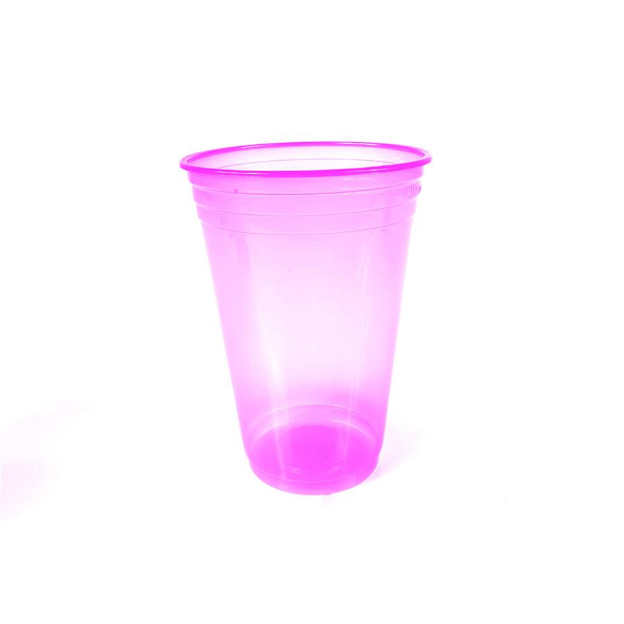 Copo Plástico Neon 300Ml C/25Un Rosa