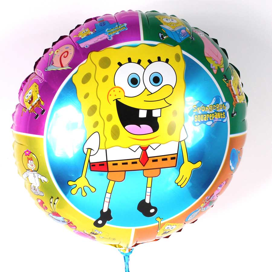 Kit 25 Balões Metalizados Bob Esponja + Bomba P/ Inflar Balões