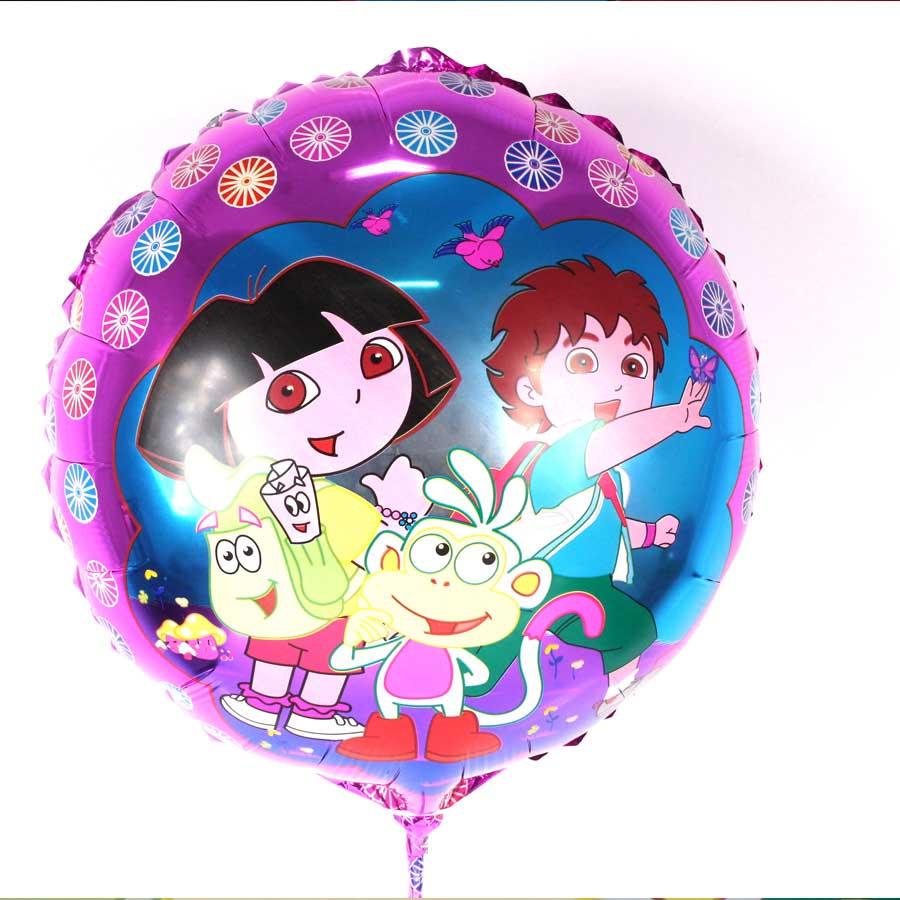 Kit Com 20 Balões Metalizados Redondos Dora Aventureira