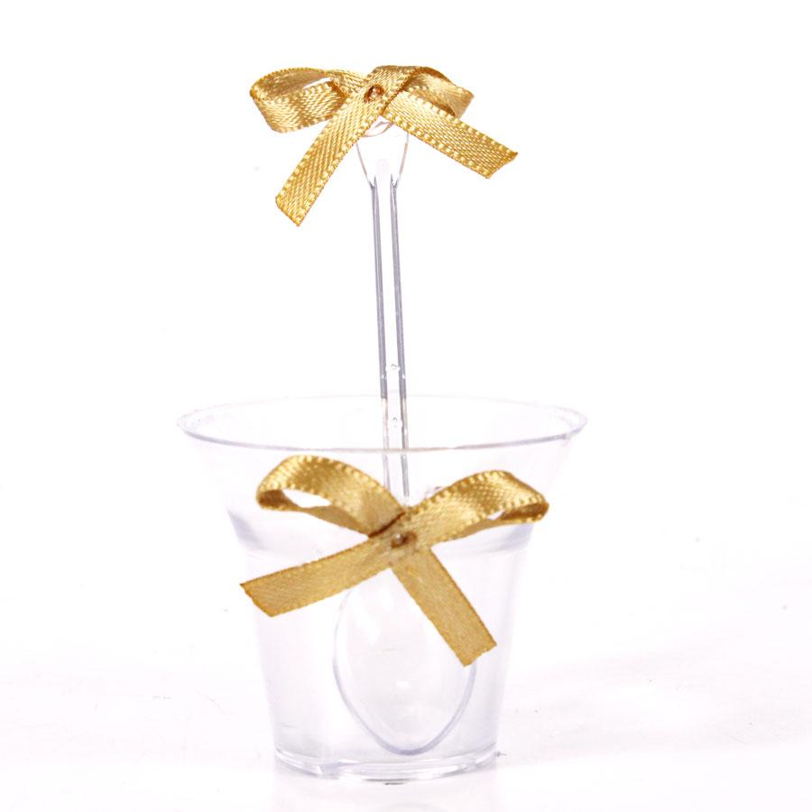 Kit Copinho Transparente Laço Dourado 10