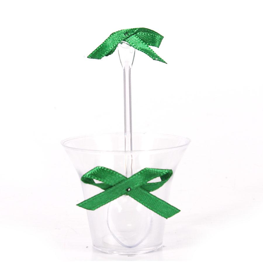 Kit Copinho Transparente Laço Verde 10Un