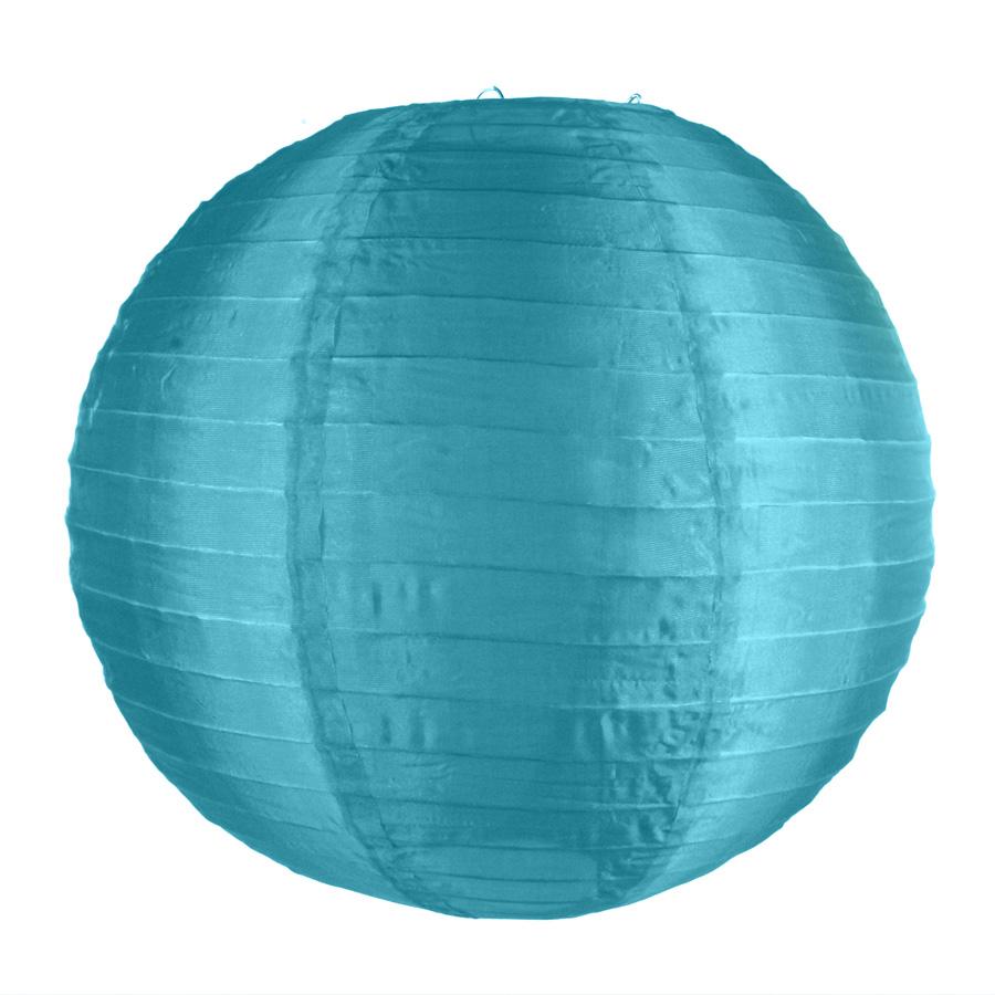 Luminária Redonda Tecido 30Cm Azul