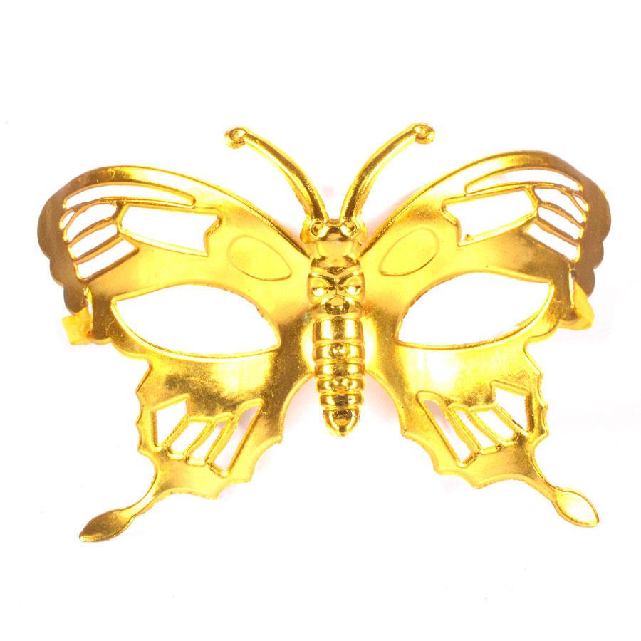Máscara Borboleta Metalizada Dourada