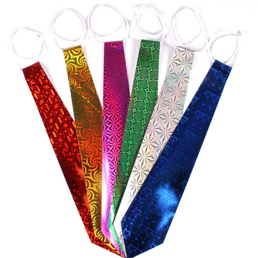 Pacote Com 500 Gravatas Holográficas Coloridas