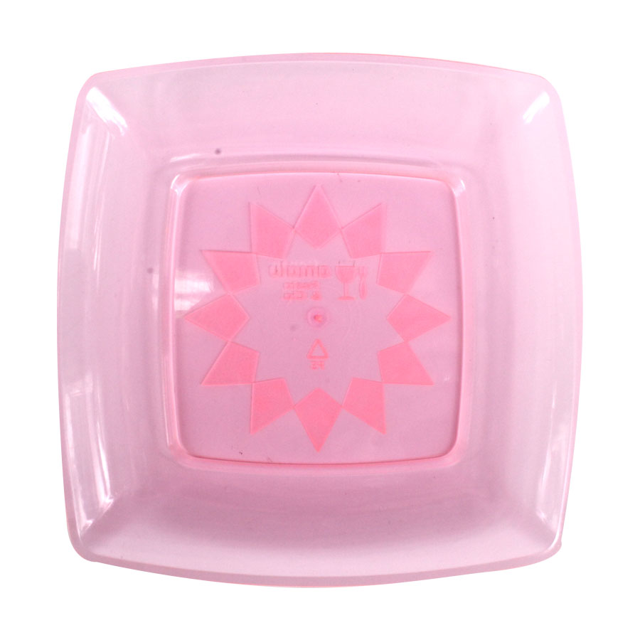 Prato Acrílico Quadrado 15Cm 10Un Rosa Neon