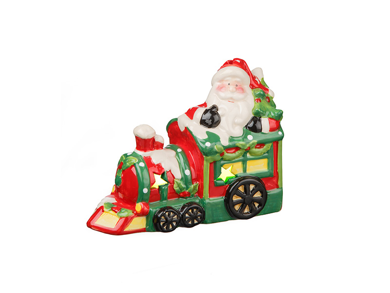 Trem Papai Noel Cerâmica Led Finlândia