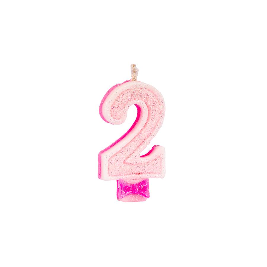 Vela Nº2 Glitter Rosa Regina Festas