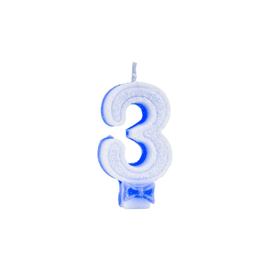Vela Nº3 Glitter Azul Regina Festas
