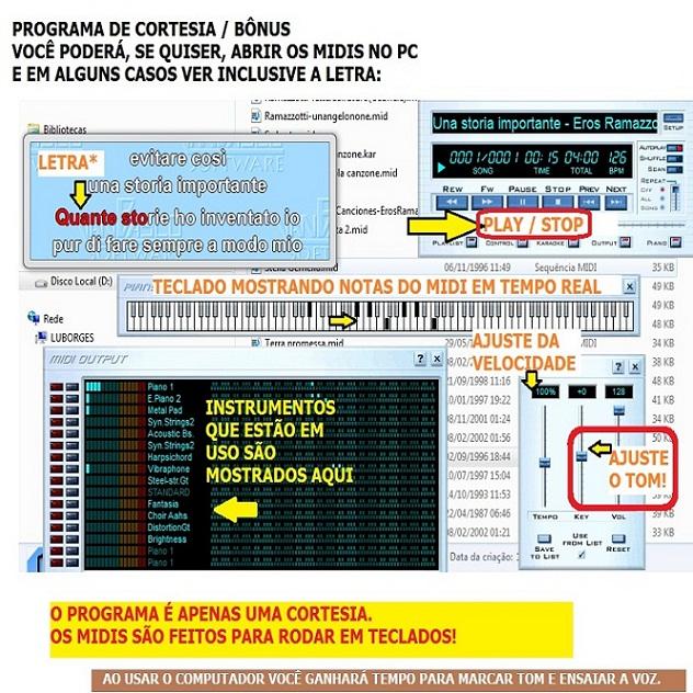 45000 Midis para Teclado (Pacote de Musicas MIDI e Karaoke MID)