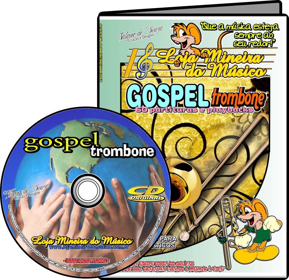 TROMBONE Partituras Gospel com 60 Playbacks Gospel