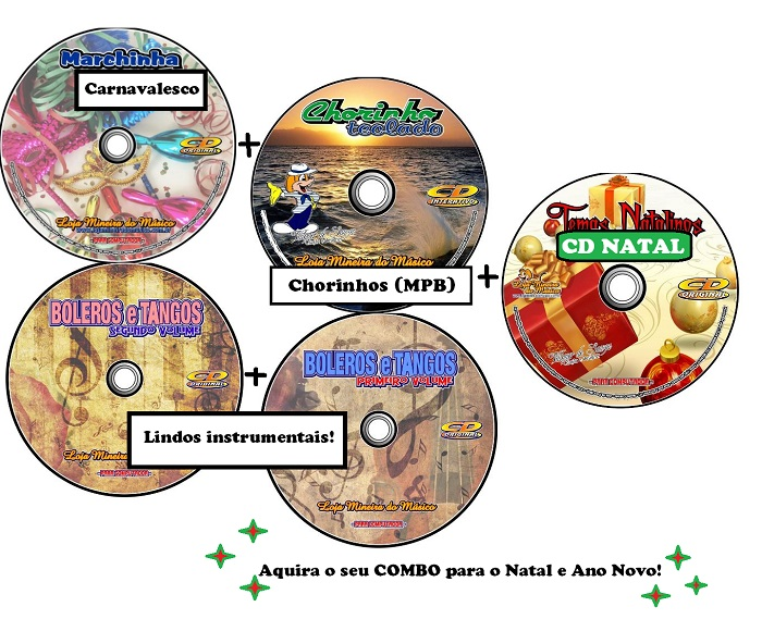 Combo Natal e Ano Novo Partituras e Playbacks em CD