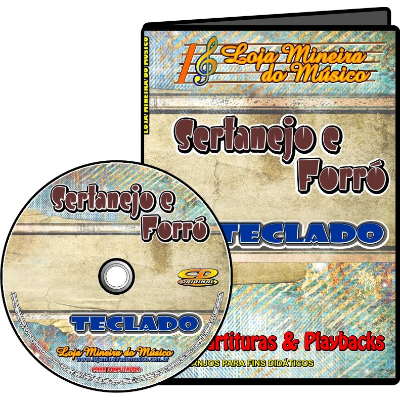 TECLADO Partituras Sertanejo e Forró com 50 Playbacks Sertanejo e Forró