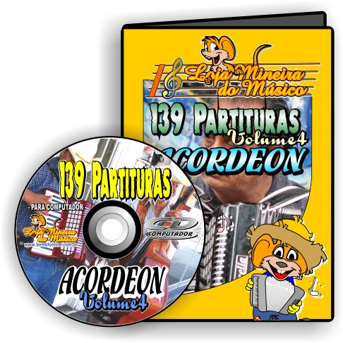 Partituras para Acordeon a escolher: Volumes 2, 3, 4 ou 5 (CD ou Download)