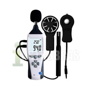 THDLA-500 - Termo-Higro-Decibelimetro-Lux�metro-Anem�metro 5X1 Digital Port�til