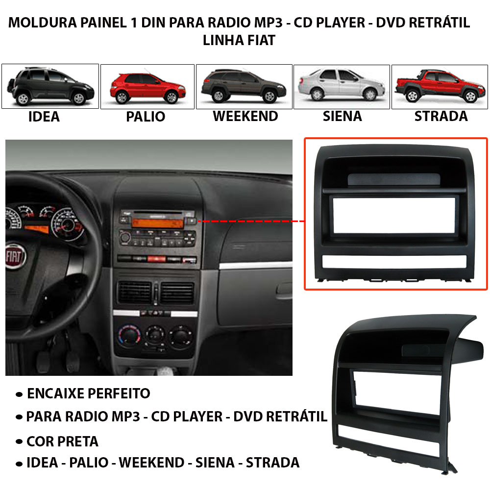 moldura radio 1 din preta palio siena idea strada adventure. Black Bedroom Furniture Sets. Home Design Ideas