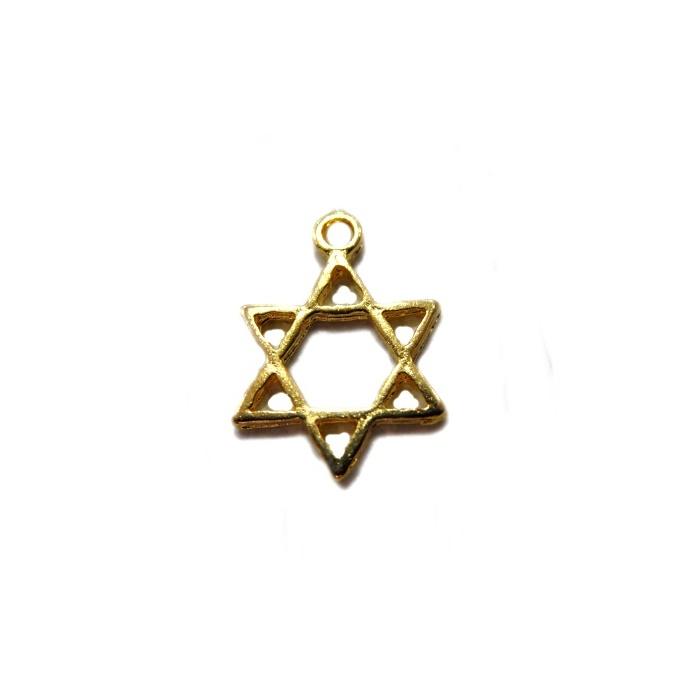Pingente Estrela de Davi pequena dourada-10pçs- PTD037