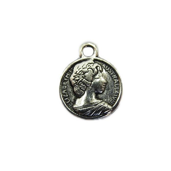 Pingente Medalha Elizabeth II níquel envelhecido (10 unidades)- PTN067