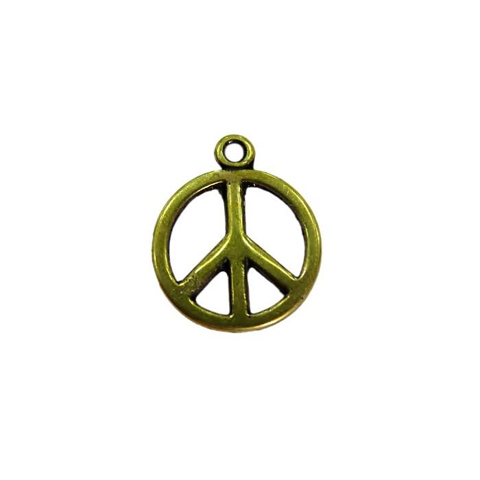 Pingente Paz e amor médio ouro velho (10 unidades)- PTO062