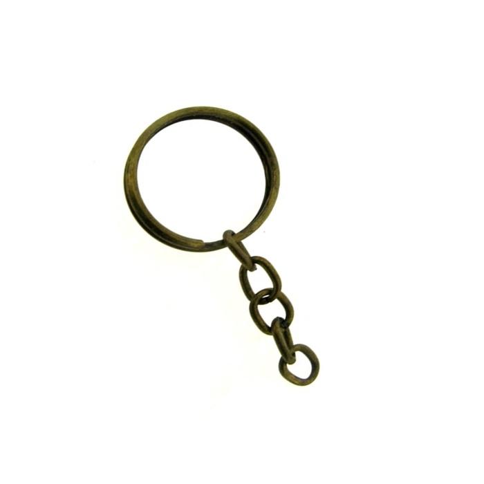 Argola de chaveiro ouro velho c/ corrente (10 unidades)- ARO001