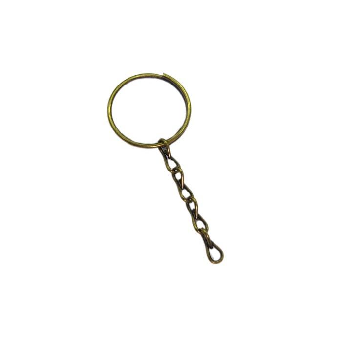 Argola de chaveiro ouro velho lisa com corrente (Pct 50 unidades) - ARO003