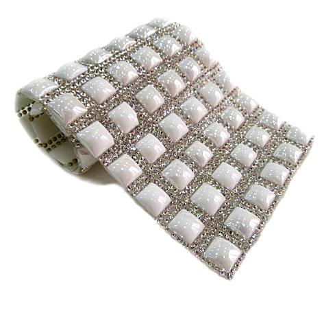 Manta de strass quadrada branca- MS006