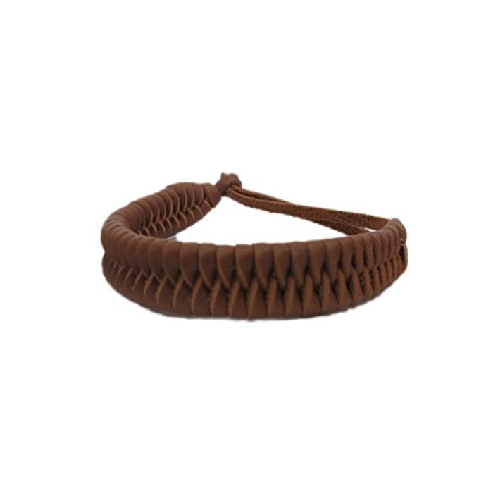 Pulseira de couro trançado marrom claro- PUL015