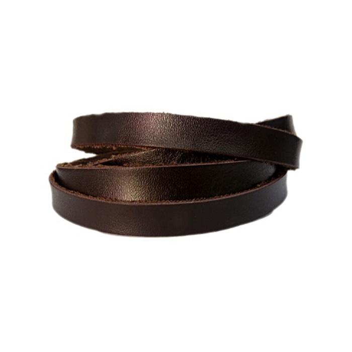 Couro achatado liso fino chocolate 1cm- COU009