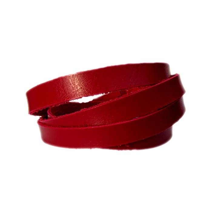 Couro achatado liso fino vermelho 1cm- COU016