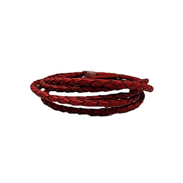Couro trançado vermelho 3mm (100 fios)- CTR003 ATACADO