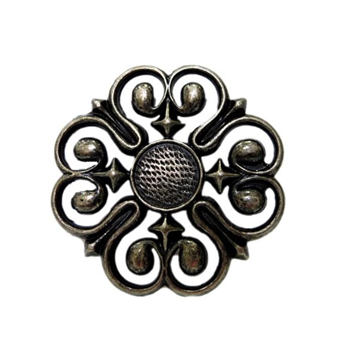 Fivela de cinto flor níquel envelhecido- BC003