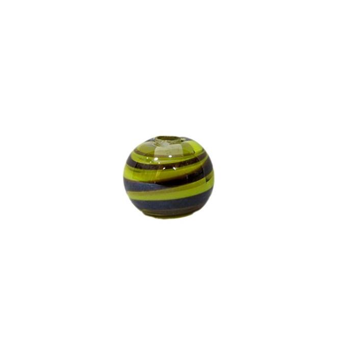 Bola de murano P preto/ amarelo (10 unidades)- MU126