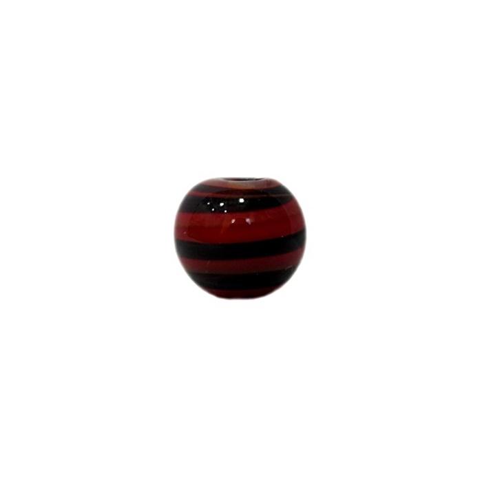 Bola de murano P vermelho/ preto (10 unidades)- MU142