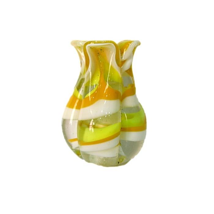 Tulipa de murano gema/ amarelo/ branco- MU151