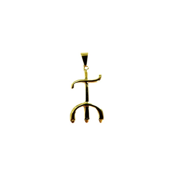Pingente ferramenta tridente pomba gira orix� dourada- PFD007