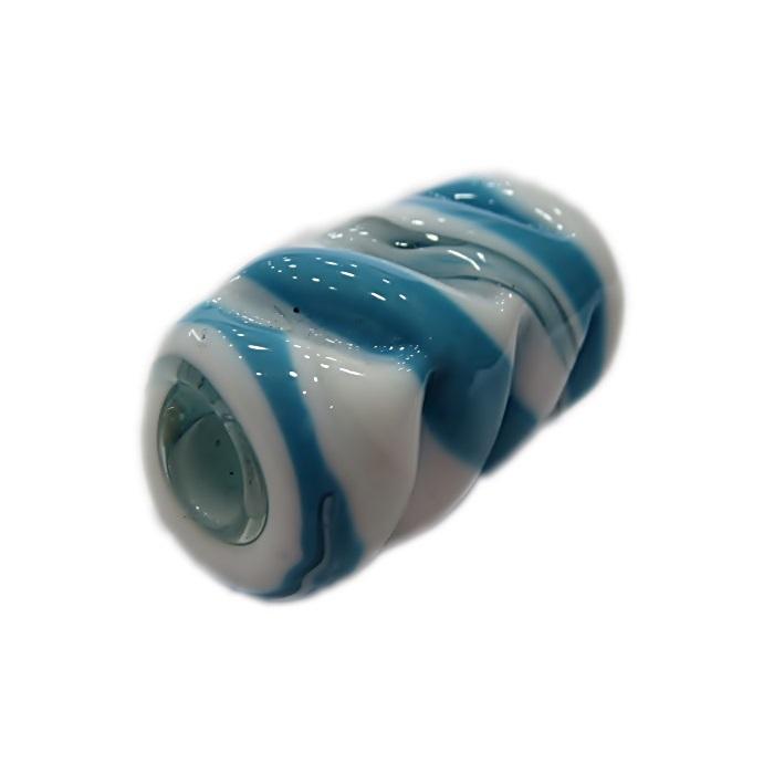 Firma de murano mola GG branca\ azul turquesa- FM136
