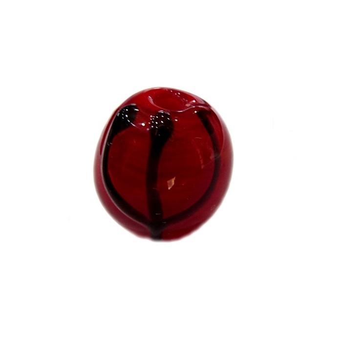 Bola de murano M vermelha c\ tridente- BM002