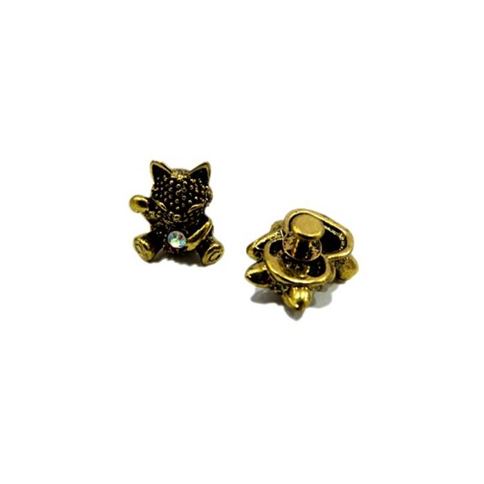 Piercing Gato da sorte dourado envelhecido (Par)- PID052
