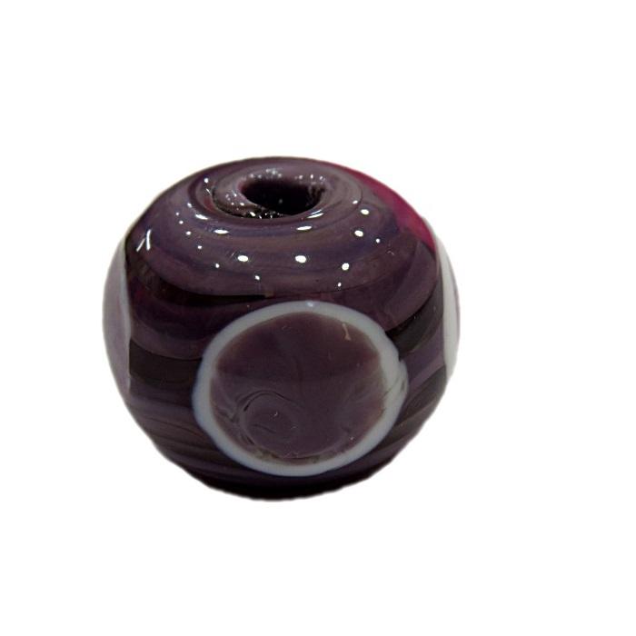 Bola de murano G lilás c\ circulos- MUD005