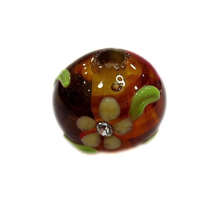 Bola de murano G ambar c\ flor- MUD022