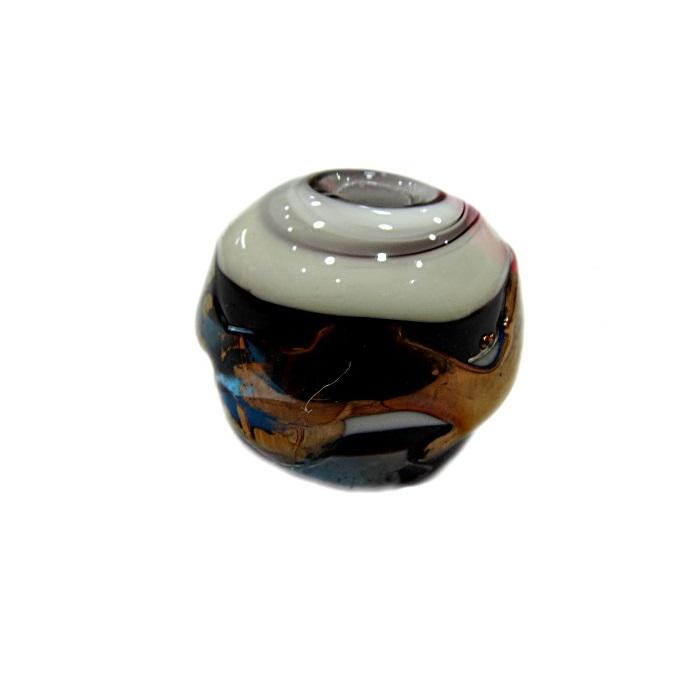 Bola de murano G preto/ branco c/ cobre- MUD028