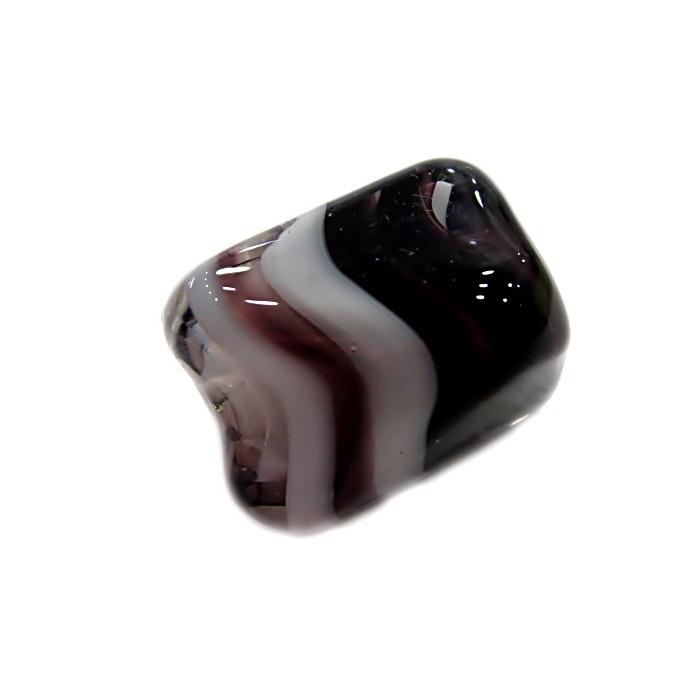 Facetado de murano M preto/ branco-MU574