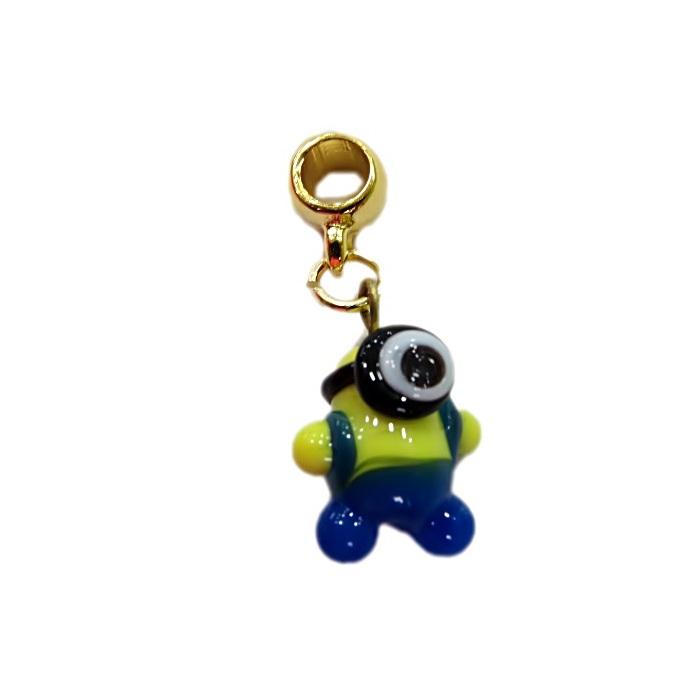 Berloque dourado pingente Minion de murano I- BED056