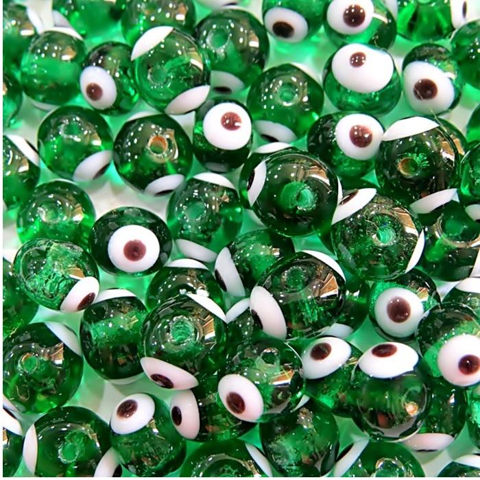 Olho grego verde transparente Nº 08 (1.000 unidades)- OG036 ATACADO
