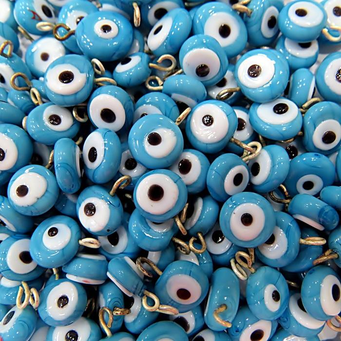 Olho grego achatado pingente azul turquesa-(20 unidades)- OGP010